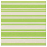 [ Thumbnail: Green and Beige Colored Stripes Pattern Fabric ]