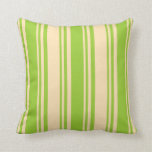 [ Thumbnail: Green and Beige Colored Stripes Pattern Pillow ]