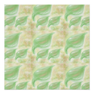 Green and beige leaf design poster