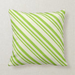 [ Thumbnail: Green and Beige Lined Pattern Throw Pillow ]