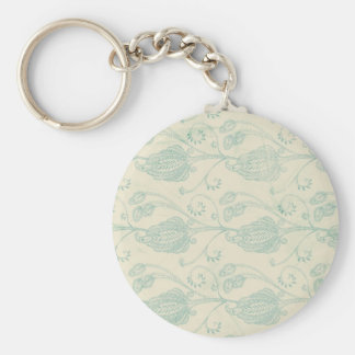 Green and Beige Paisley Print Keychain