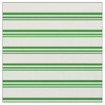 [ Thumbnail: Green and Beige Striped Pattern Fabric ]