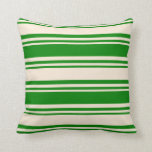 [ Thumbnail: Green and Beige Striped Pattern Throw Pillow ]