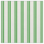 [ Thumbnail: Green and Beige Stripes/Lines Pattern Fabric ]