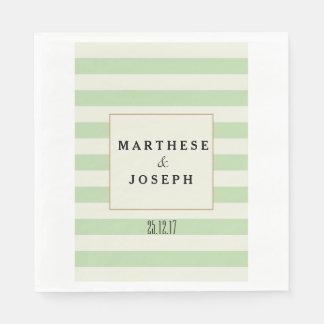 Green and Beige Wedding Paper Napkin