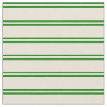 [ Thumbnail: Green and Bisque Colored Lines Pattern Fabric ]