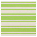 [ Thumbnail: Green and Bisque Lines Pattern Fabric ]