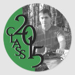 Green and Black 2015 Graduation Class with Photo Classic Round Sticker