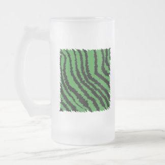 Green and black abstract jungle pattern. frosted glass beer mug