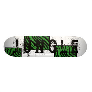 Green and black abstract stripes pattern. skateboard deck