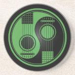 Green and Black Acoustic Guitars Yin Yang Beverage Coaster