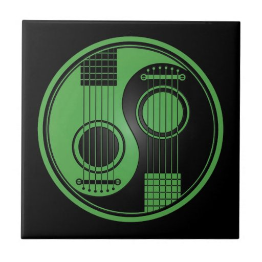Green and Black Acoustic Guitars Yin Yang Tile