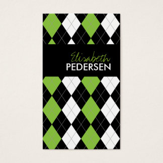 Green and Black Argyle Business Cards