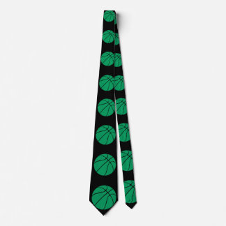 Green and Black Basketball Neck Tie