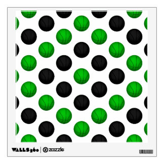 Green and Black Basketball Pattern Wall Sticker