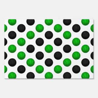 Green and Black Basketball Pattern Yard Signs