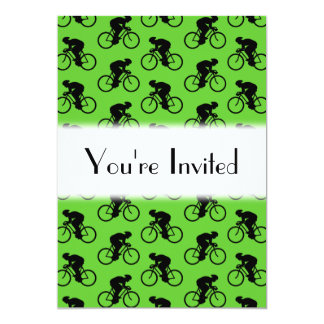 Green and Black Bicycle Pattern. Card