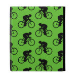Green and Black Bicycle Pattern. iPad Folio Covers