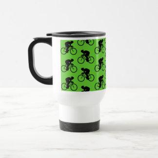Green and Black Bicycle Pattern. Travel Mug