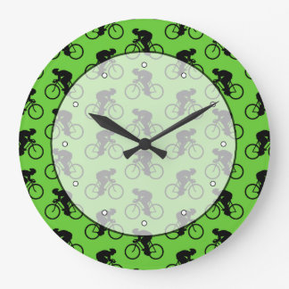 Green and Black Bicycle Pattern. Wall Clock