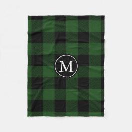 Green and Black Buffalo Check Monogram Fleece Blanket