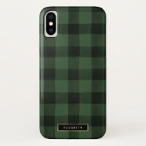 Green and Black Buffalo Check Pattern iPhone X Case