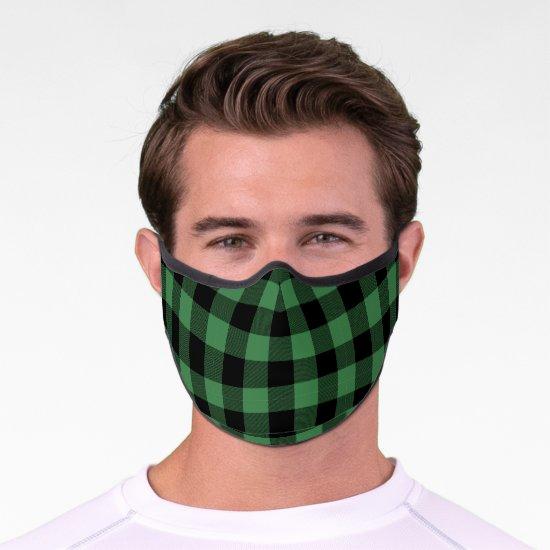 Green and Black Buffalo Plaid Check Pattern Premium Face Mask