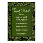 Green and Black Camo Baby Shower Invitations
