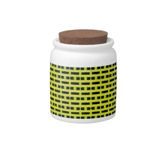 Green and Black Candy Jar with Honeycomb Design