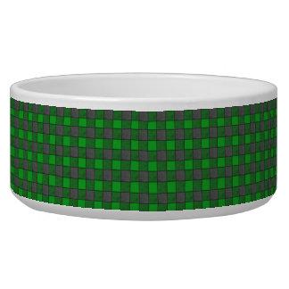 Green and Black Check Pet Bowl