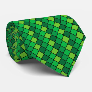 Green and Black Checked Necktie