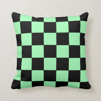 Green and Black Checkered Flag by RT Stone Throw Pillow