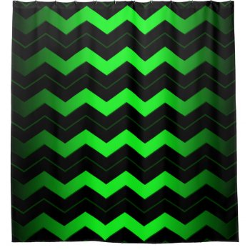 Green and Black Chevron Shower Curtain