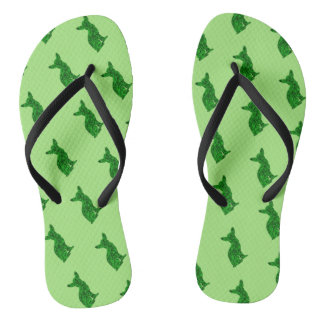 Green and Black Chihuahua Silhouette Flip Flops