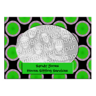 Green and black circle photo frame business card template