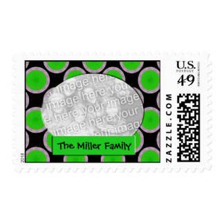 green and black circles photo frame stamp