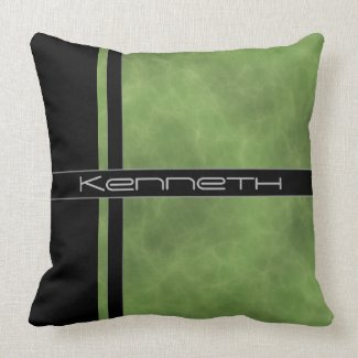 Green and Black Color Block Throw Pillow