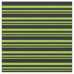 [ Thumbnail: Green and Black Colored Lined/Striped Pattern Fabric ]
