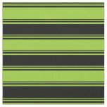 [ Thumbnail: Green and Black Colored Lines Fabric ]
