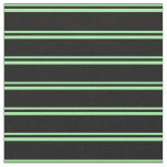 [ Thumbnail: Green and Black Colored Striped Pattern Fabric ]