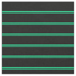 [ Thumbnail: Green and Black Colored Stripes/Lines Pattern Fabric ]