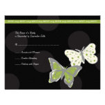 Green and Black Cool Butterfly Wedding RSVP Custom Invite