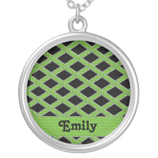 Green and black crisscross monogram necklace