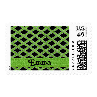 Green and black crisscross monogram stamps