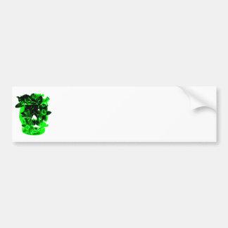 Green and Black Daffodil Flower Skull Bumper Sticker