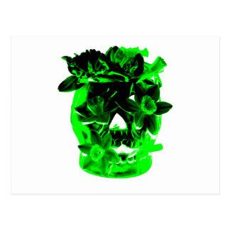 Green and Black Daffodil Flower Skull Postcard
