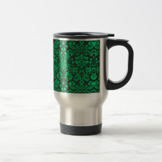 Green and Black Damask 15 Oz Stainless Steel Travel Mug