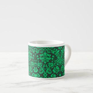 Green and Black Damask 6 Oz Ceramic Espresso Cup