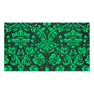 Green and Black Damask Business Card