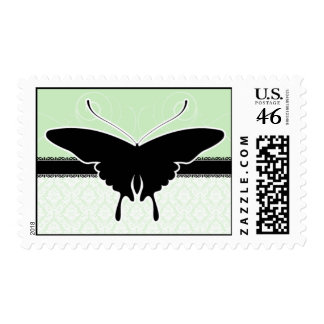 Green and Black Damask Butterfly Postage Stamps